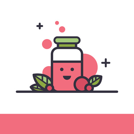 Simple and trendy hipster vector illustration of vegan or vegetarian smoothie super food cocktail drink. Smoothie to go take away healthy fresh drink, organic fruit and berry detox diet shake icon.