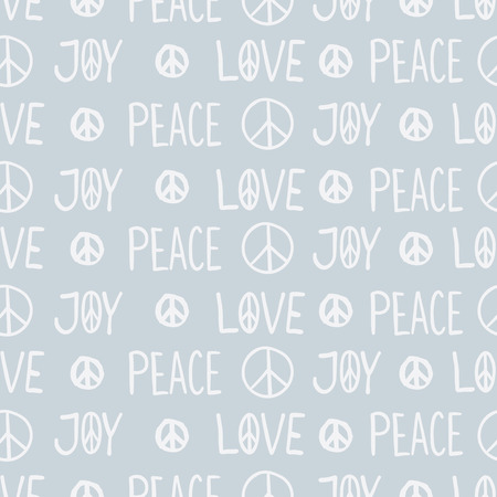 국제 평화 하루 섬세 한 손으로 그려진 된 원활한 패턴 레터링 평화, 사랑, 기쁨, 평화 징후, 파란색 배경에 기호. 종이, 벽지 및 배경 포장. 일러스트