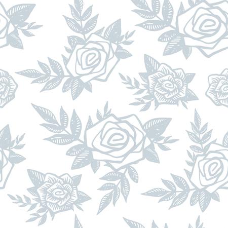 손으로 섬세 한 유행 원활한 패턴 그려진 된 장미, 꽃 및 흰색 배경에 식물. 장미, 분기, 잎, 꽃, 꽃 요소. 조각, 문신 스타일 벡터 배경 포장지. 일러스트