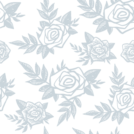 Delicate trendy seamless pattern with hand drawn blue roses, floral and plants on white background. Rose, branch, leaf, flower, floral elements. Engrave, tattoo style vector backdrop, wrapping paper.