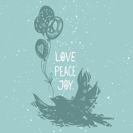 국제 평화 하루 개념 포스터 비행 조류와 풍선. Linocut 작풍 창조적 인 인쇄. 사랑 평화 기쁨 문자 일러스트