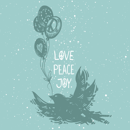 International peace day concept  poster with flying bird and balloons. Linocut style creative print. Love peace joy lettering