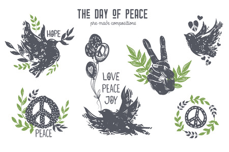 International day of peace graphic set. Lino cut style birds, doves, hands, balloons, peace symbols, branches, flowers, floral and plants. Hand drawn vector elements and compositions for design poster, card, t-shirt, web banner.
