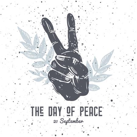 국제 평화 하루 손 제스처와 질감 배경에 꽃 조성 엽서를 그려. 문신, 히피, 보호, 리노 컷 스타일 프린트. 일러스트