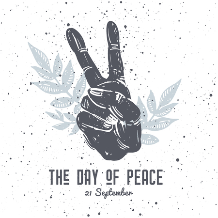 International peace day hand drawn postcard, with hand gesture and floral composition on texture background. Tattoo, hippie, boho, lino cut style print.
