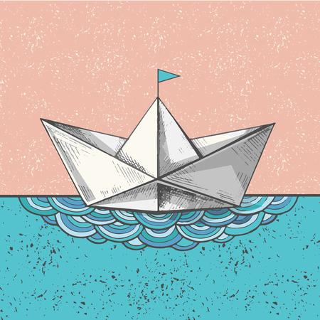 귀여운 손으로 스케치 된 종이 선박에 파도, 벡터 일러스트 레이 션. 아트 봇 바다, 바다 호출에 인쇄합니다.