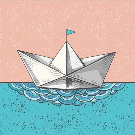 Cute hand sketched paper ship on the waves, vector illustration. Art print with a bot on the sea, ocean calling. Ilustração