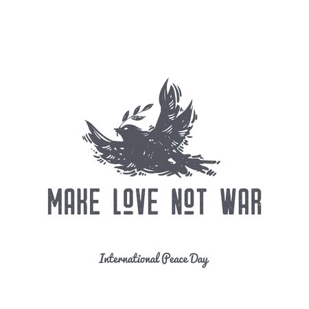 전쟁을 사랑하지 마라. 국제 평화의 날 손으로 그린 비둘기, 조류와 올리브 분기 엽서를 그려. 평화, 문신, 히피족, hipster, boho, linocut 스타일의 상징의