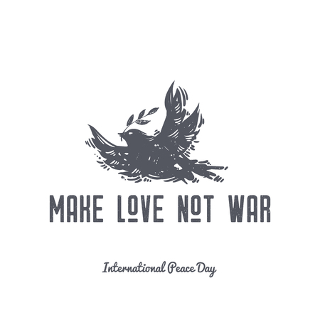 Make love not war. International Peace Day hand drawn postcard with flying dove, bird and olive branch. Symbols of peace, tattoo, hippie, hipster, boho, linocut style print.