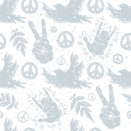 국제 평화 하루 조류, 손 제스처, 승리 기호, 분기와 평화로운 기호 질감 된 배경에 섬세 한 원활한 패턴입니다. 꽃, 비둘기, 평화 서명, 손, 제스처 벡터