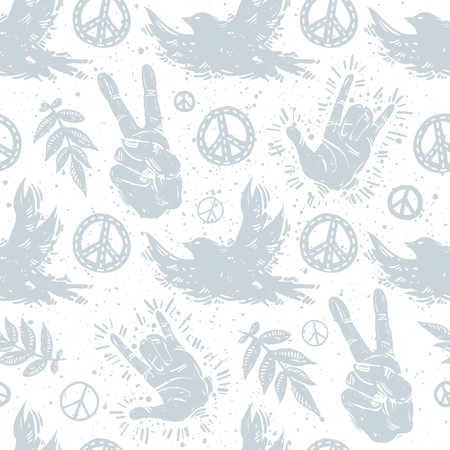 International peace day delicate seamless pattern with birds, hand gesture, victory sign, branches and peace symbols on textured background. Flower, dove, peace sign, hands, gesture vector elements, wrapping paper.