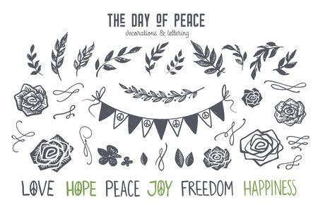 국제 평화의 날 그래픽 및 글자 세트. Lino는 작풍 꽃, 꽃 및 flourishes, 장미, 리본, 깃발, 분지 및 잎을 자른다. 손으로 그린 벡터 디자인 요소 포스터, 카 일러스트