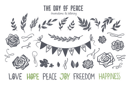 International day of peace graphic and lettering set. Lino cut style flowers, floral and flourishes, roses, ribbons, flags, branches and leafs. Hand drawn vector elements for design poster, card, t-shirt, web banner, love, hope, peace, joy, freedom, happiness lettering.