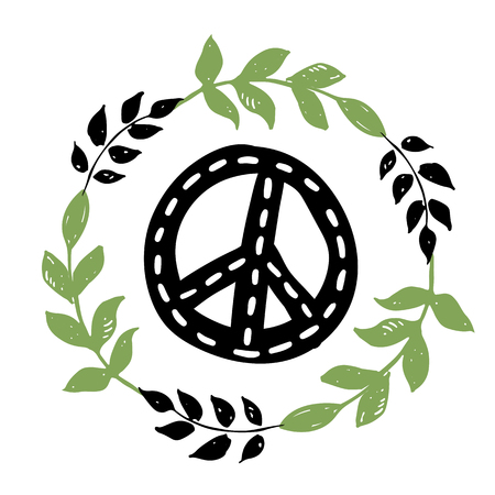 International peace day symbol, sign with florals, leafs and branches. Isolated hippie pacifist sign. Ilustracja