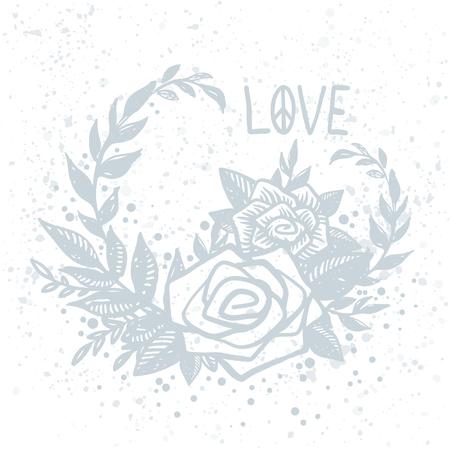 파란색 손으로 섬세 한 벡터 엽서 흰색 배경 및 사랑 글자에 그려진 된 장미. 문신, 히피, 보호, 리노 컷 스타일 프린트, 꽃 조성, 액자.