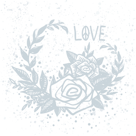 Delicate vector postcard with blue hand drawn roses on white background and love lettering. Tattoo, hippie, boho, lino cut style print, floral composition, frame.