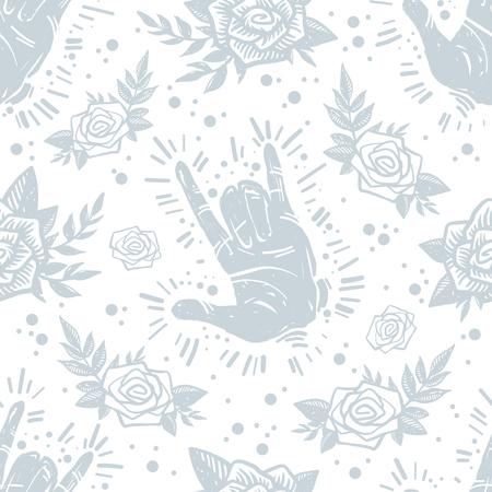 국제 평화 하루 손 제스처, 장미, 꽃 및 질감 된 배경 식물 그런 지 유행 원활한 패턴. 문신, 단단한 바위, 창조적 인 벽지, 포장지.