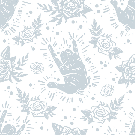 International peace day grunge trendy seamless pattern with hand gesture, roses, floral and plants on textured background. Tattoo, hard rock, creative wallpaper, wrapping paper.