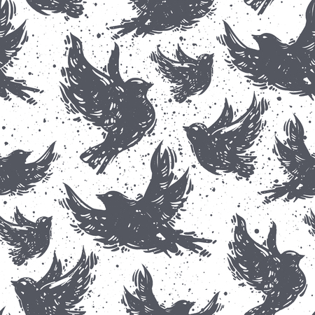 International peace day seamless pattern with flying doves, birds on textured background. Grunge backdrop, vector ink illustration, wrapping paper.