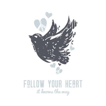 당신의 마음을 따라 귀여운 국제 평화 하루 엽서 비행 비둘기, 조류 및 마음. 문신, 히피, hipster, boho, lino 컷 스타일 인쇄.
