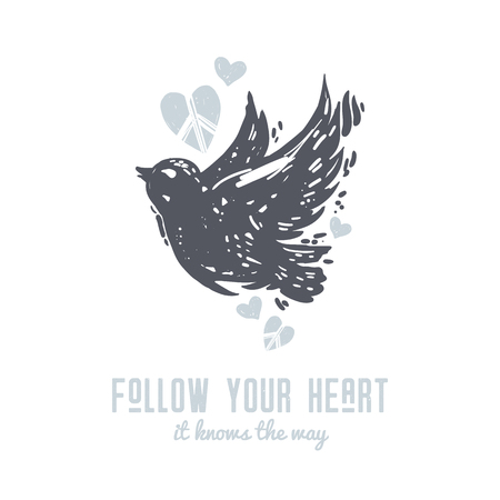 Follow your heart cute International peace day postcard with flying dove, bird and hearts. Tattoo, hippie, hipster, boho, lino cut style print. Ilustração