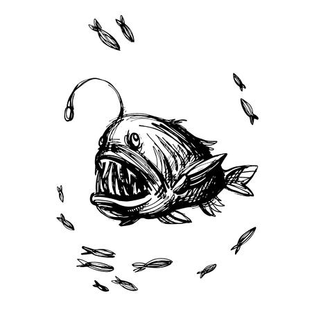 손에 잡힌 낚시꾼 물고기, 이빨 물고기 괴물. Monkfish 잉크 스케치, 깊은 물 낚시꾼. 물고기와 바다 벡터 일러스트 레이션 일러스트