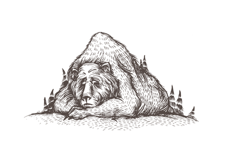 Let it snow, cute and lovely hand sketched illustration of old sleeping bear, looks like a mountain, into the woods. Forest bear, winter mood, Christmas card, seasonal greetings. Ilustração