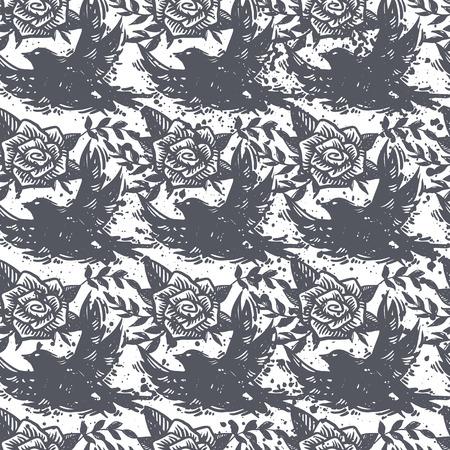 국제 평화 하루 조류, 비행 비둘기, 장미, 꽃 및 질감 된 배경 식물 grunge 유행 원활한 패턴. 문신, 단단한 바위, 창조적 인 벽지, 포장지.