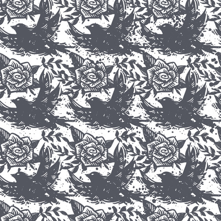 International peace day grunge trendy seamless pattern with birds, flying doves, roses, floral and plants on textured background. Tattoo, hard rock, creative wallpaper, wrapping paper.