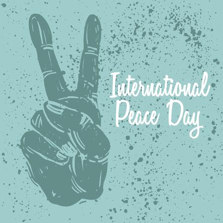 국제 평화 하루 엽서 손 제스처와 함께입니다. 포스터, 인쇄, 개념, 벡터 일러스트 레이 션.