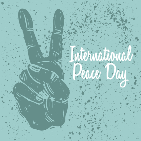 International peace day postcard with hand gesture. Poster, print, concept, vector illustration. Illustration