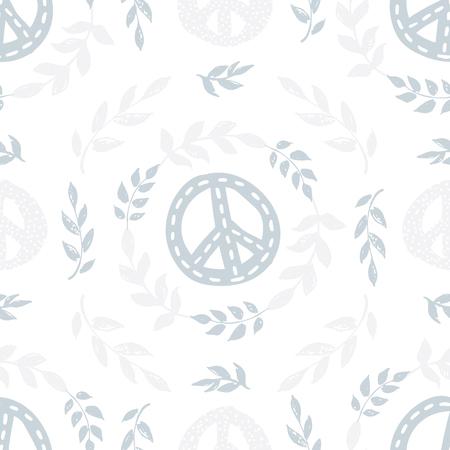 국제 평화 하루 평화 징후, 기호, 분기, 섬세 한 원활한 패턴 leafs 및 흰색 배경에 화 환. 종이, 벽지, 배경 포장. 일러스트