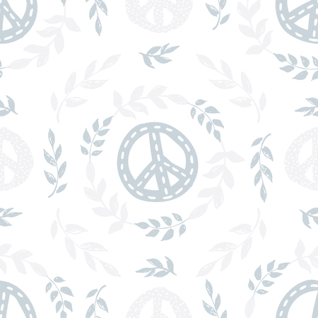 International peace day delicate seamless pattern with peace signs, symbols, branches, leafs and wreaths on white background. Wrapping paper, wallpaper, backdrop.