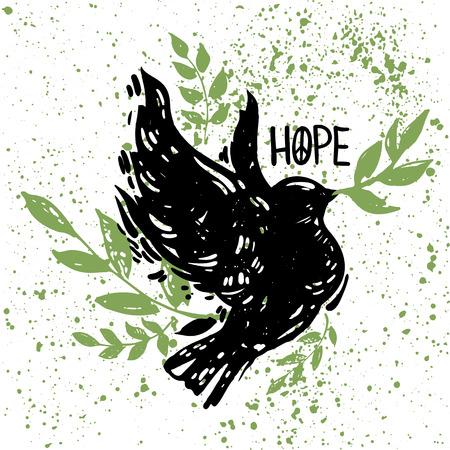 조류, florals 및 분기 비행 국제 평화 하루 개념 포스터. Linocut 작풍 창조적 인 인쇄. 희망 편지. 일러스트