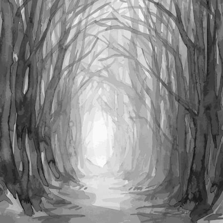 Trajeto da floresta, fuga espectral da floresta, ilustração da aquarela. Árvores velhas, floresta encantada, no fundo do vetor das madeiras. Ilustración de vector