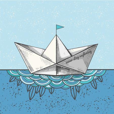 귀여운 손으로 스케치 된 종이 선박에 파도, 벡터 일러스트 레이 션. 아트 봇과 함께 봇에 인쇄합니다. 바다 호출. 탐험을 멈추지 마십시오.