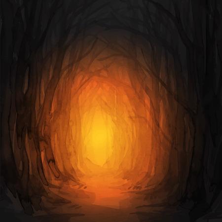 우드랜드 경로. 유령의 숲 흔적, 수채화 그림입니다. 오래 된 나무, 매혹 된 숲, 숲으로. 할로윈 배경입니다. 마법의 불빛. 일러스트