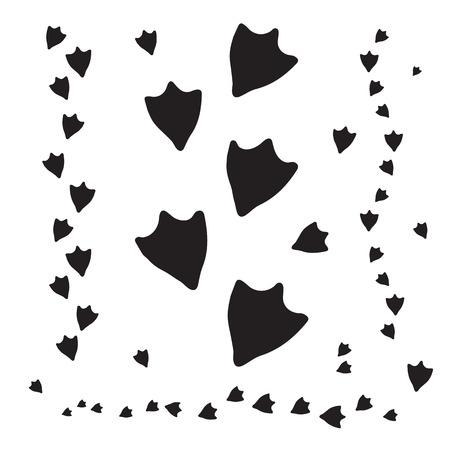오리 발자국 및 야생 동물 개념 디자인에 대 한 흰색 배경에 고립 된 트랙. 버드 트랙, 오리 발 인쇄. 일러스트