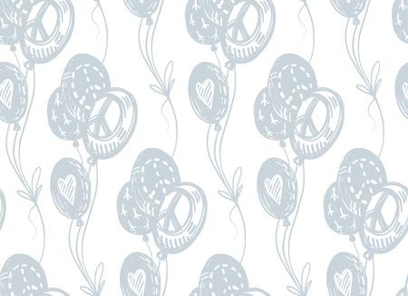 국제 평화의 날 섬세 한 손으로 그린 비행 풍선, 평화 징후, 기호, 흰색 배경에 마음을 가진 완벽 한 패턴입니다. 생일, 휴일 포장지.
