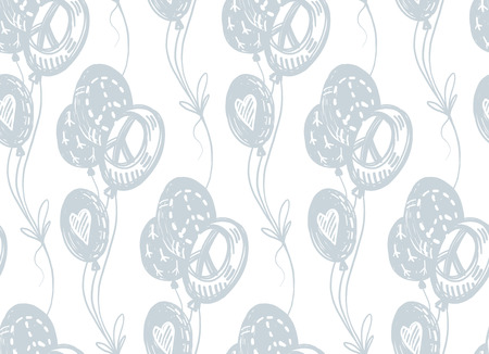 International peace day delicate hand drawn seamless pattern with blue flying balloons, peace signs, symbols, hearts on white background. Birthday, holiday wrapping paper.