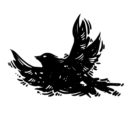 Hand drawn lino cut style trendy and expressive vector sketch of flying bird. Ink, grunge style illustration of dove silhouette isolated on white background.