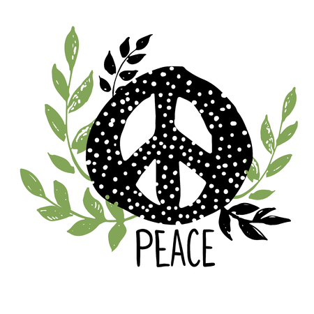 International peace day symbol, sign with floral, leafs and branches. Isolated hippie pacifist sign.
