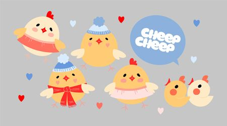 Yellow easter chicks cheep illustrations. Chicks wearing hats and scarves. Small hearts. Speech bubble with text. Nursery, kid clothing, stationery, wrapping design. Baby chicken. Red and blue.