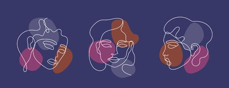 Beautiful elegant face logo templates.