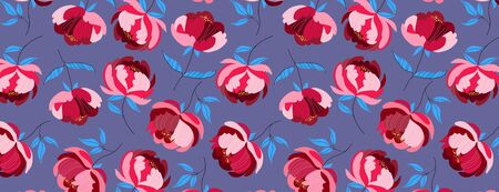 Luxury fashionable red wild peony pattern. Big extravagant flowers on a deep purple solid background