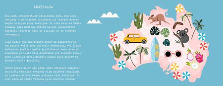 Australia illustrated map banner. Australian culture, nature and traditions on a map. Hand-drawn modern vector illustration for web and print. Trendy Australian map design. Illustration
