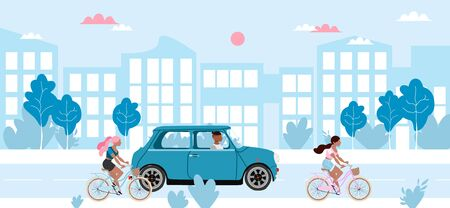 People and transport on a road. Girls riding bicycles, man in the mini car. Blue cityscape and low traffic vector illustration. Flat design city view. Bicycle rental, car rental and scooter rental. Illustration