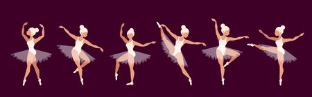 Ballerinas. Set of ballet dancer characters. Beautiful blond girl performance. Girls in pointe shoes and ballet tutu. Graceful women on stage. Opera concept. Modern vector illustrations for web, app.