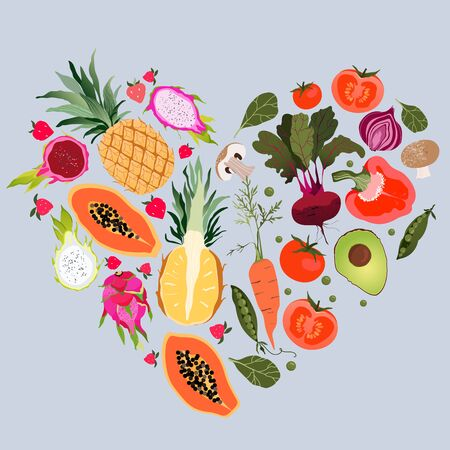 Fruit and vegetable heart. Healthy eating and fitness concept. Variety of fresh fruits and vegetables organised into a heart shape. Yellow pineapple, avocado, papaya, beetroot. Trendy vector design. Illustration