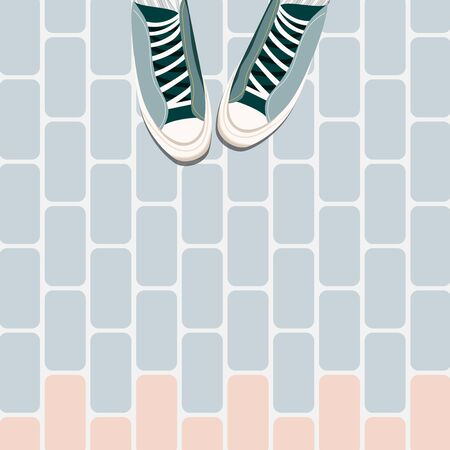 Feet on the tiles. Trainers on tile floor top down. Feet in sport shoes standing on the ground. Trendy social media style flat lay illustration. Colourful sneakers and flourish flooring.